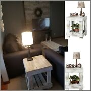 Distressed White Wood Rustic End Side Table Sofa Open Shelf Antique Display