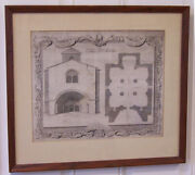 Antique Lithograph The Ancient Chappel Adjoining Bishops Palace At Herford 1737