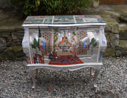 Vintage Hand Painted Chest Inspired By Miniature Mughal Paintings Of 17th 18thc