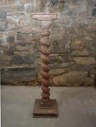 Antique 19thc Hand Made Twist Turned Pedestal Sculpture Stand Old Orig Painted