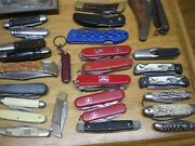 Large Lot Of 76 Assorted Pocket And Hunting Knives