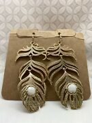 Kendra Scott Vintage Feather Earrings Eileen White Gold Tone Used Rare