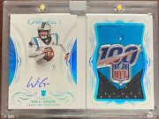 2019 Flawless Will Grier Rookie Patch Auto Nfl Shield 100 Logo 1/1 Panthers Rare