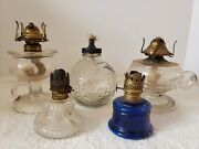 Antique Lot 5 Glass Oil Lamps - Scovill, Panda, Footed, Clear, Cobalt Glass, Etc.