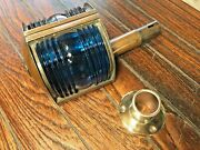 Vintage Removable Brass Bow Light Red/green Glass Lens New Wire And Led