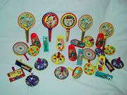 Vintage Lot Of 30 Nos Kirchhof Tin Party Noise Makers Toys Favors Mid Century