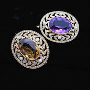Antique Edwardian Pair Brooches 14k Gold Pearls Amethys Citrine Solinger 6853