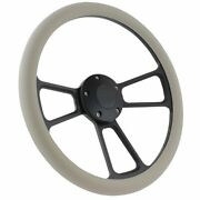 Black Billet And Grey Vinyl Steering Wheel And Adapter Kit 1970 - 1977 Ford Cars