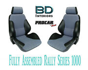 Full Seats 80-1000-71 Reclining Rally 1000 Series Black And Grey For Datsun 240z