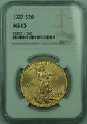 1927 St. Gaudens 20 Double Eagle Gold Coin Ngc Ms-65 Gem Bu