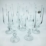 Set Of 8 Bohemia Crystal Champagne Flutes Glasses With Ball Stems