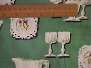 10 Yards Printed Fabric W/ White Dishes And Glasses On Green Background