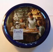 Vintage Cookie Tin Can Family Times Original Danish Butter Mom Boy Girl