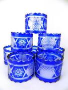 Lot 12 Vintage Cut To Clear Cobalt Blue Glass Hand Made Crystal Napkin Rings