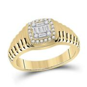 14k Yellow Gold Baguette Round Diamond Square Ring 1/3 Cttw