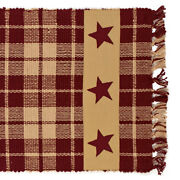 New Primitive Country Farmhouse Red Wine Tan Burgundy Star Table Runner 36
