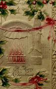 Victorian Embossed 3d Christmas Card Fireplace Stockings Holly String-tied T127