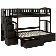 Bowery Hill Solid Wood Staircase Storage Bunk Twin Over Full In Espresso