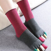 3 Pair Lady Girls Cotton Five Finger Toe Socks Ankle High Cute Spliced Stocking