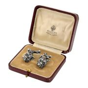 Russian Faberge 88 Silver Bull Dog With Bone Cufflinks With Small Diamond Accent