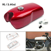9l/2.4 Gal Universal Vintage Motorcycle Cafe Racer Seat Fuel Gas Tankandcap Switch