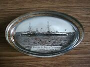 Rare Vintage Portuguese Steam Liner Advertising Glass Paperweight Of 50's.