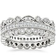 Real 1.00 Ct Diamond Eternity Anniversary Band 14k Solid White Gold Size 5 6.5 8