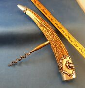 Massive Nine Inch Stag Handle Corkscrew Beautiful Sterling Silver End Caps Nr