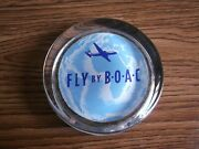 Rare Vintage B.o.a.c. Airline Advertising Beautiful Glass Paperweight Of 50's.