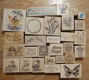Rubber Stamp Lot Easter Spring Bunnies Chicks Duck Eggs Basket Flowers Butterfly