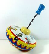 Vintage Spinning Metal Top Wooden Handle By Ohio Art Circus Train Lithograph