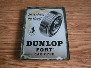 Rare Vintage Dunlop Tyre Advertising Two Sided Glass Paperweight Of 40and039s.