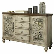 Bowery Hill Console Table With 2 Doors And 4 Drawers In Antique White
