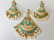 22k Turquoise Pearl Bell Pendant Earrings Yellow Gold Set