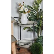 Rustic Indutrial Farmhouse Small Bar Serving Cart Tray Round Wheels Distressed
