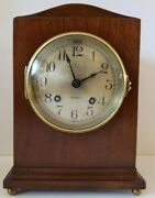 Antique Working 1915 Chelsea 8 Day Time And Strike Mahogany Mantel Shelf Clock