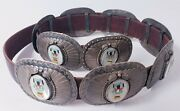 Vintage Navajo Handmade Mother Of Pearl Silver Concho Belt Turquoise 9pieces
