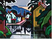 Stretched Canvas - Old Canal Port Painting By Oscar Bluemner Reproduction