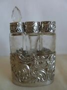 Antique 800 Silver Hanau Germany Set Of 3 Crystal Perfume Bottles In A Case
