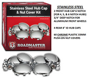 Complete Stainless Hub Cap Kit Chrome Plastic Lug Nut Covers Truck Tractor Semi
