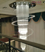 Remote Dimmable Led Crystal Chandelier Living Room Villa Hall Stair Spiral Light