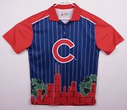 Chicago Cubs Klew Menand039s Sz Large Skyline Blue Red Pinstripe Polo Shirt