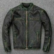 Menandrsquos Motorcycle Biker Vintage Distressed Black Faded Real Leather Jacket