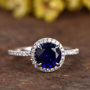 2.70 Ct Natural Diamond Round Blue Sapphire 14k Real White Gold Ring Size 6 7 8
