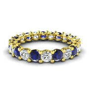 2.03 Ct Certified Real Diamond Blue Sapphire Band 14k Yellow Gold Rings Size 6