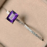3.10 Ct Real Amethyst Diamond 14k White Gold Emerald Band Sets Size 7 6 5.5 Sale