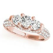 1.36 Ct Real Diamond Engagement Rings 14k Solid Rose Gold Womenand039s Size 5.5 6 7.5