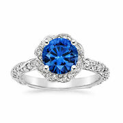 2.20 Ct Real Blue Sapphire Diamond Rings 14k White Gold Engagement Ring Size 6.5