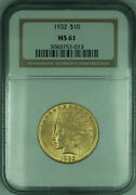 1932 Indian Eagle 10 Gold Coin Ngc Ms-61 Kd