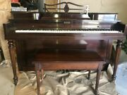 Vintage Winter And Co Upright Piano With Bench And Glass Top Made In Early 1900and039s